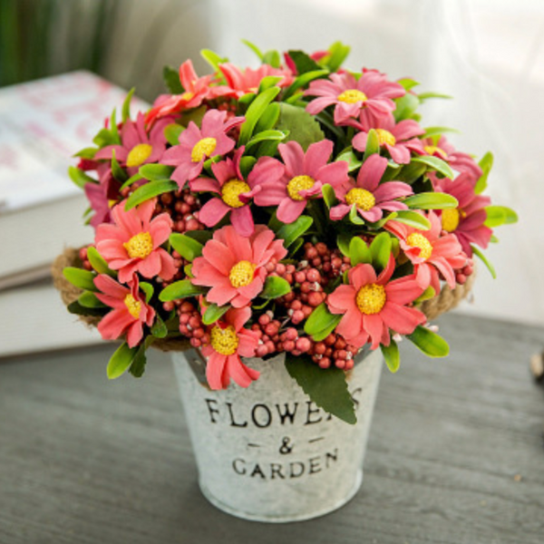 Flowers in Basket Light Red