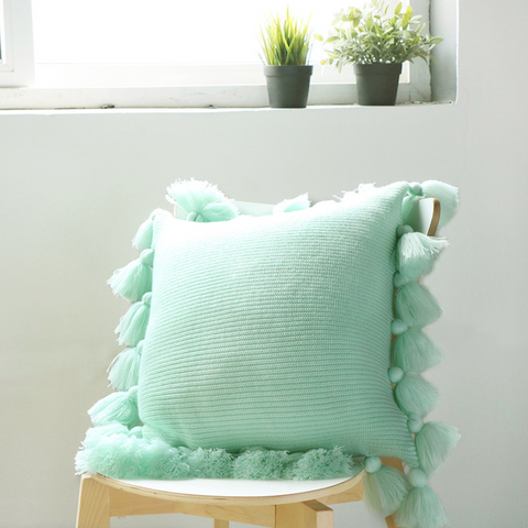 ELLEN fringe Pillow with core (L) - Light Green