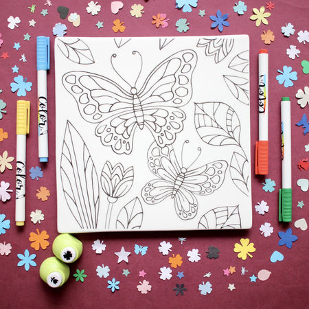 MERRY DIY Butterfly Tile  with Colour Pens