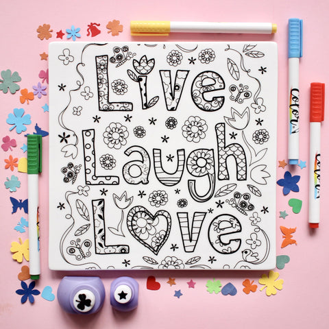 "MERRY DIY ""Live Laugh Love"" Tile  with Colour Pens"