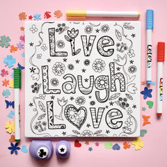 "MERRY DIY ""Live Laugh Love"" Tile  with Colour Pens - Nestasia Home Decor"