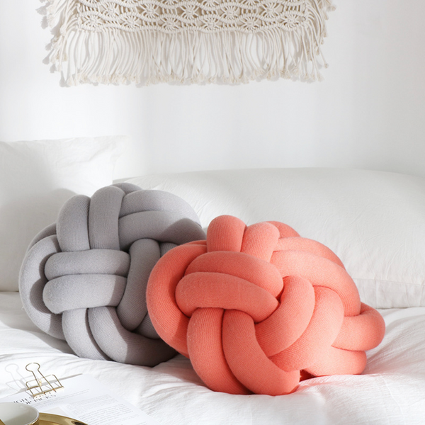 KNOTTED Pillow- light red / peach - Nestasia Home Decor