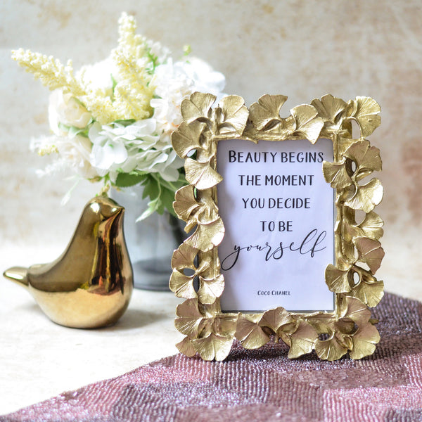 MAGNIFIQUE Leaf Photo Frame - Gold (L)
