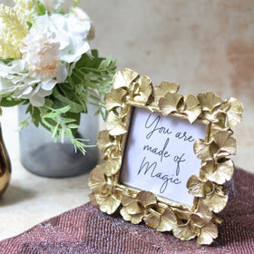 MAGNIFIQUE Leaf Photo Frame - Gold (S)