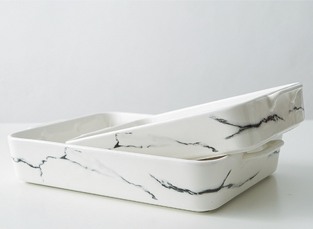 CHICERAMIC rectangle marble ovenware - white