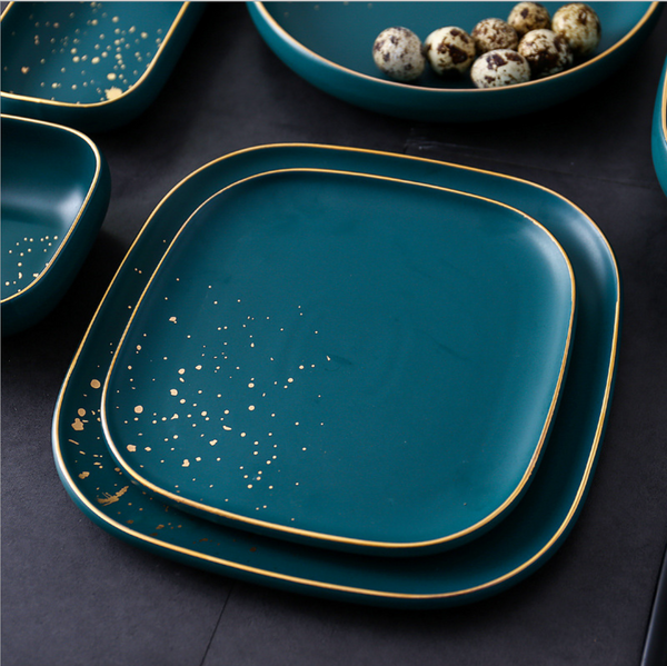 CARA square salad plate - midnight green