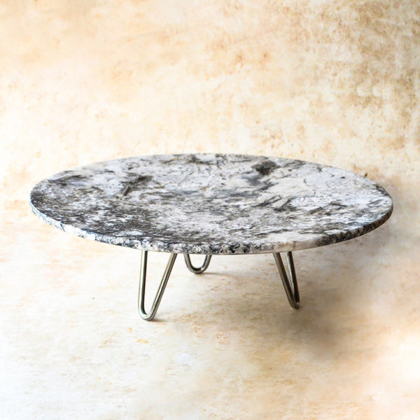 Marble Cake Stand - Grey White