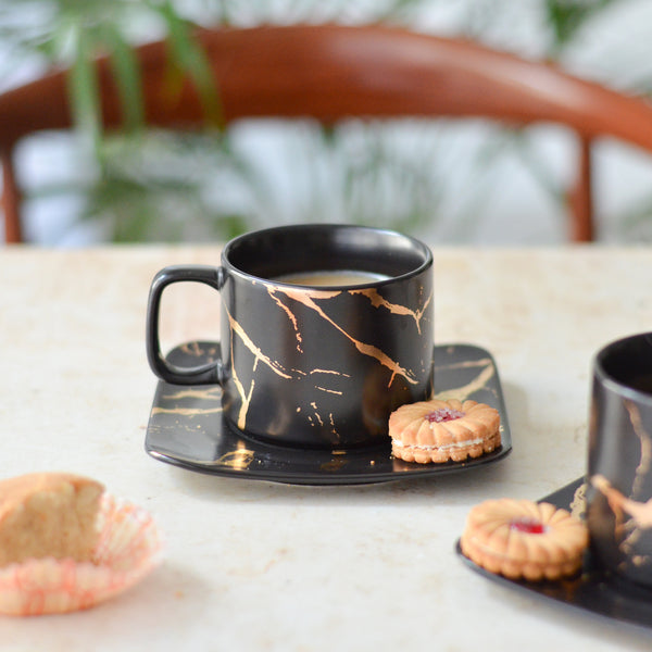 Marble Black Tea Cup and Saucer