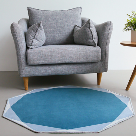 POLYGON round rug (L) - Midnight green