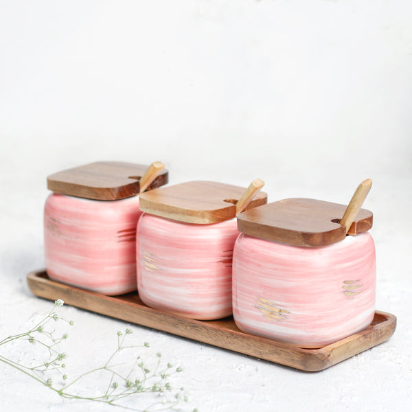 Pink Spice Jar Set