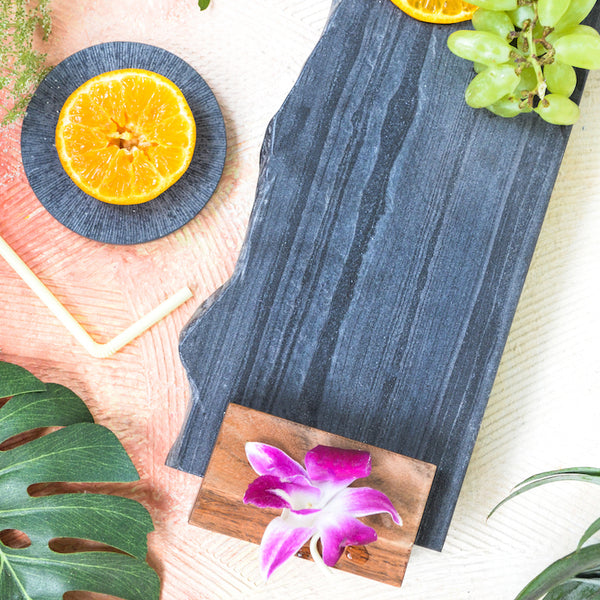 Nestasia Lava Stone and Wood Serving platter