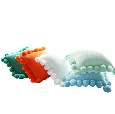 MERRY Pompom Pillow with core (L) - Green