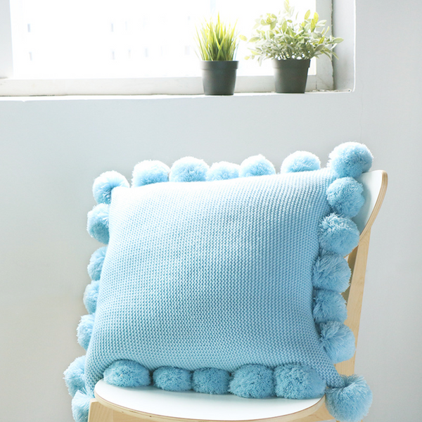 MERRY Pompom Pillow with core (L) - Blue - Nestasia Home Decor