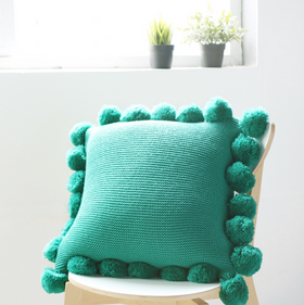 MERRY Pom Pom Cushion with Core (L) - Green
