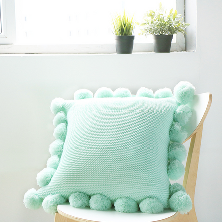 MERRY Pompom Pillow with core (L) - Light Green