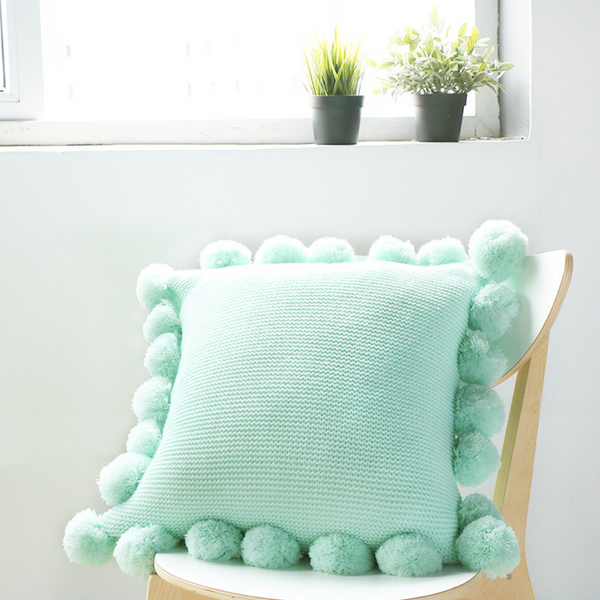 MERRY Pompom Pillow with core (L) - Light Green - Nestasia Home Decor
