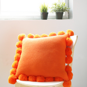 MERRY Pompom Cushion with core (L) - Orange