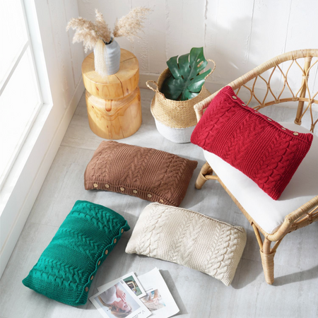 BELLA Knitted crochet Pillow with core - Wine