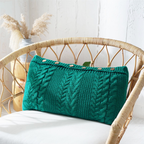 BELLA Knitted crochet Pillow with core - Dark green