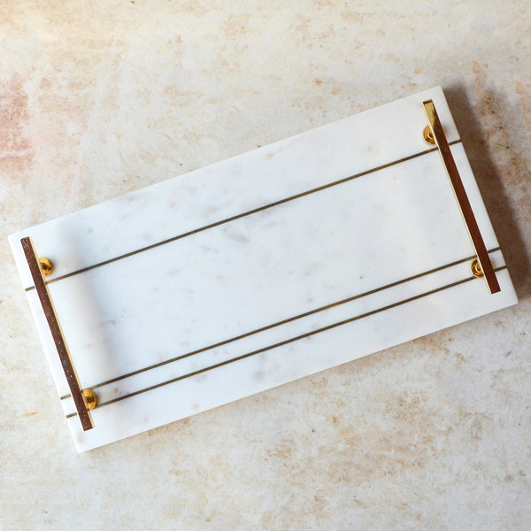 Rectangle Marble Serving Tray with Handle - White Gold