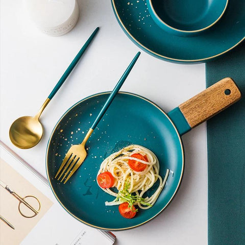 CARA plate with wooden handle - midnight green