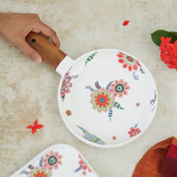 Round Floral Plate with Handle