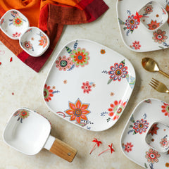 Square Dinner Plate Floral