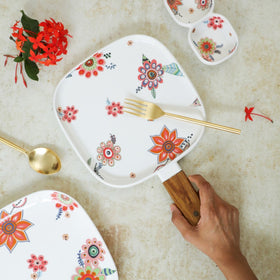 Square Floral Plate with Handle