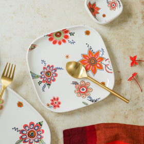 Square Snack Plate Floral