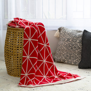 MERRY Double Sided Pattern Knitted Throw Blanket - Crimson, Cream