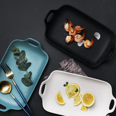 CHICERAMIC Ceramic Serving platter-Black - Nestasia Home Decor