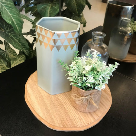 CHICERAMIC Ceramic Hexagon Vase- Grey & Gold