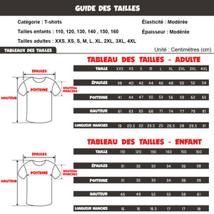 guide tailles t-shirt Pokemon