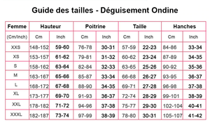 Guide tailles déguisement Ondine
