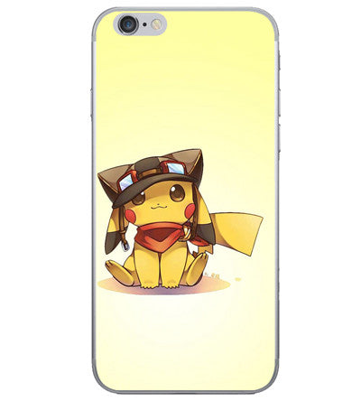 Coque iPhone Pikachu pilote vintage