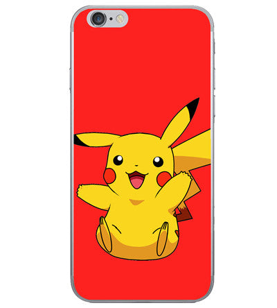 Coque iPhone Pikachu sur fond rouge