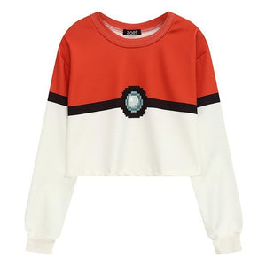Sweat léger Pokéball blanc rouge Pokémon femme