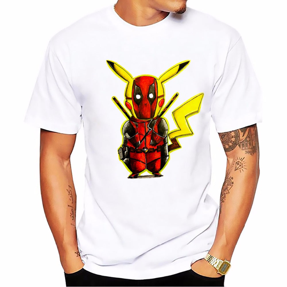 T-shirt Pikachu x Deadpool Pokémon Super Heros