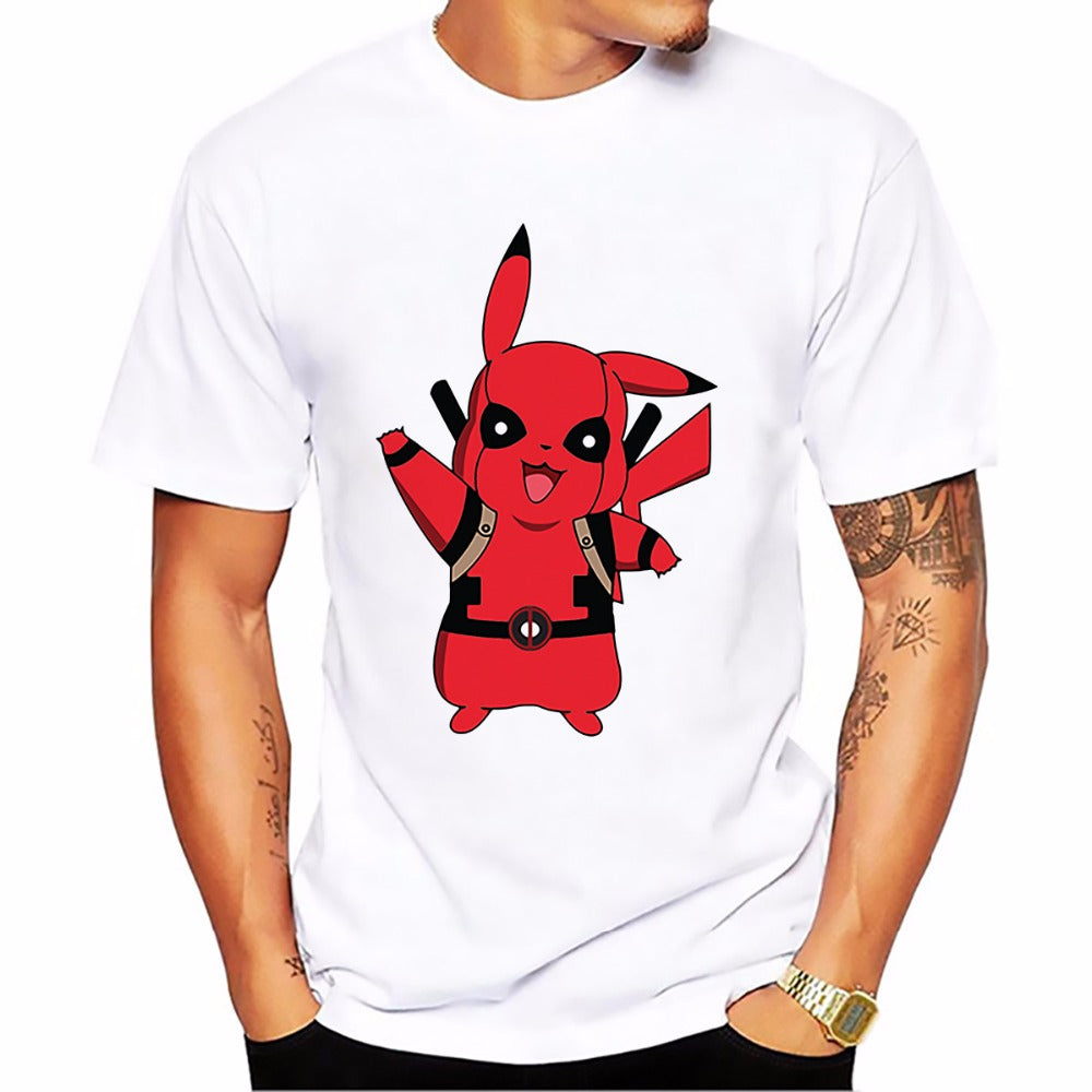 T-shirt Pikachu-Deadpool Pokémon Super Heros