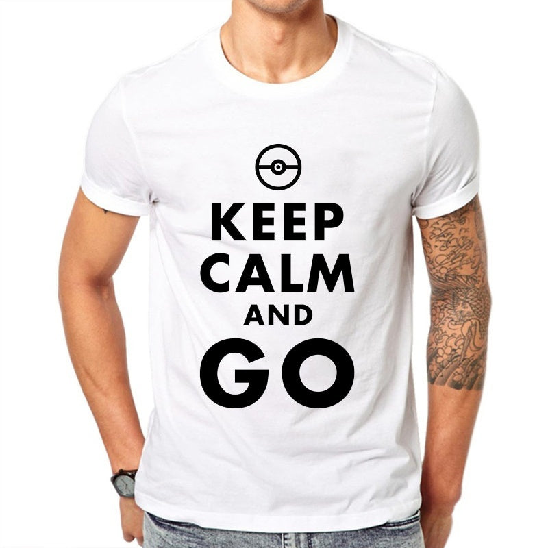T-shirt blanc Keep Calm and Go Pokémon