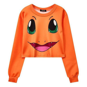 Sweat léger Pokémon Salamèche orange femme