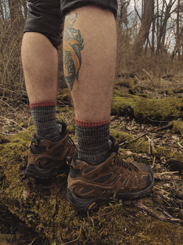 merino wool socks on the trail