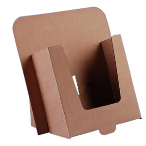 Cardboard A5 leaflet dispenser in brown