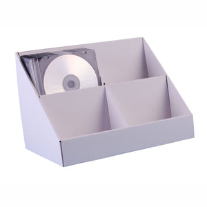 White cardboard Cd display stand