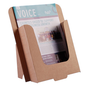 Brown cardboard dispenser for A4 leaflets