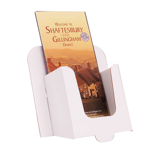 White cardboard DL leaflet dispenser