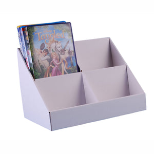 White cardboard DVD display stand