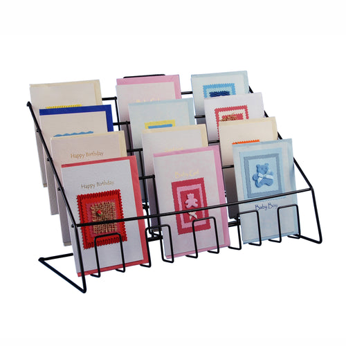 Four Tier Wire Counter Stand for Mixed Sized Greeting Cards