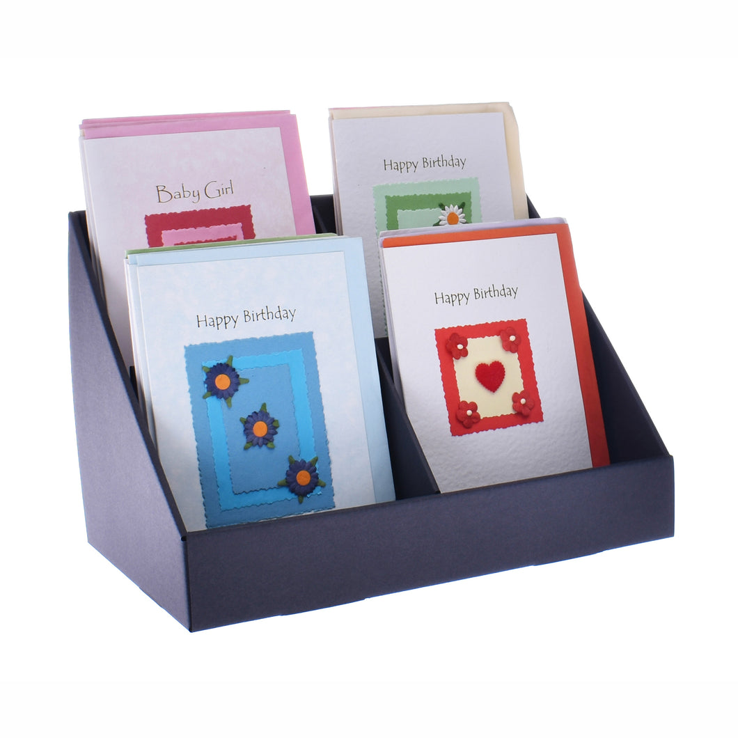 Black 4 pocket greeting card stand
