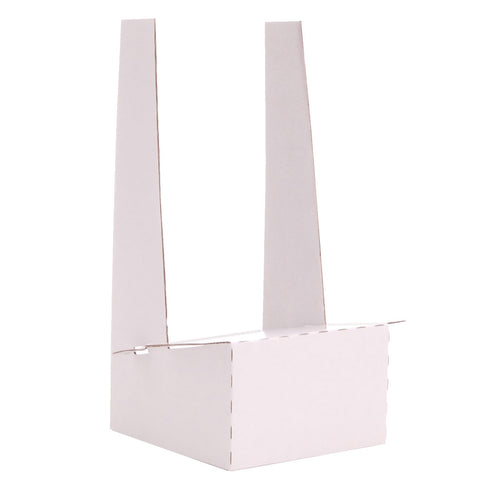 White cardboard display stand